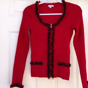 Cache NWOT red decorative rib-knit zip-up cardigan
